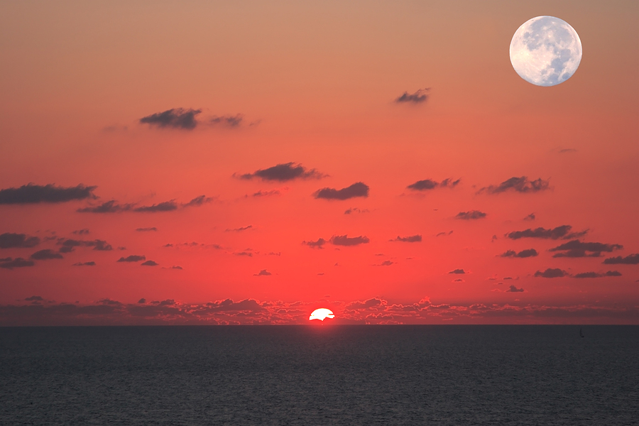 Sunset with full moon