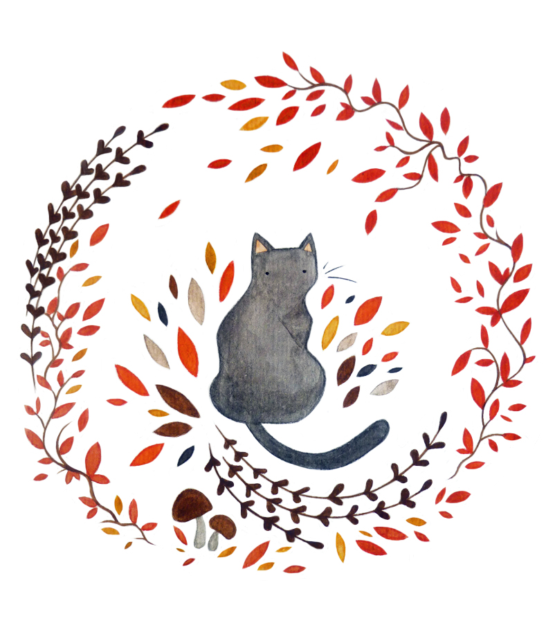 Black Cat and Wreath by Annette Jones