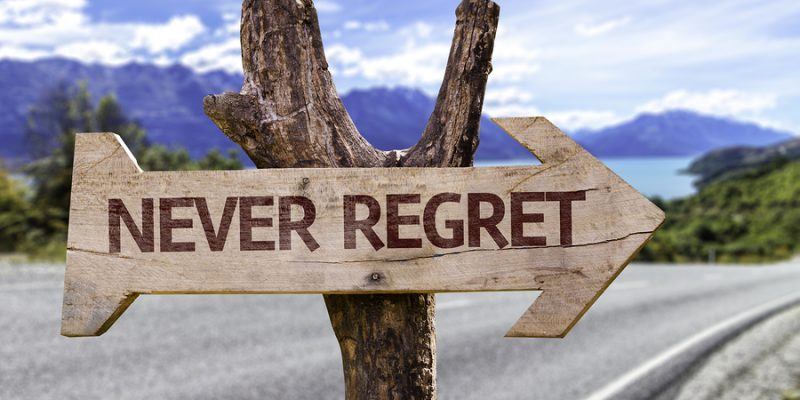 Never Regret wooden sign
