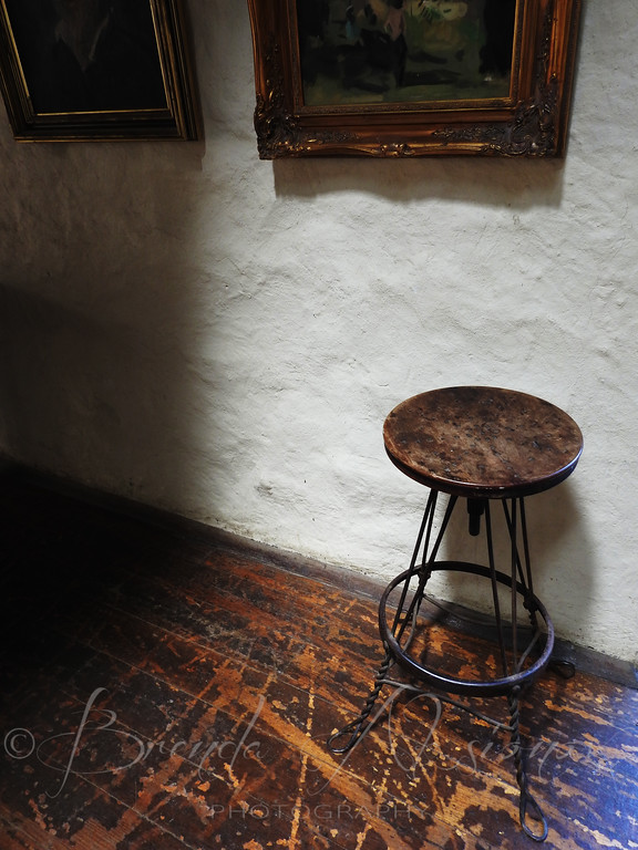 Artists stool in gallery